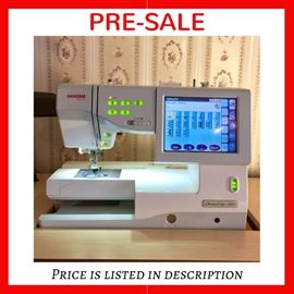 Available for PRE-SALE - $1,000 Janome Memory Craft 11000 embroidery machine with 2 hoops and some accessories.