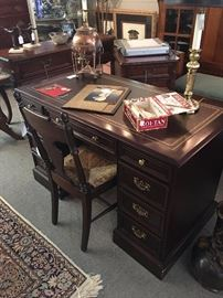 Cherry Desk with Leather inlay.