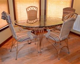 Glass top wrought iron table & 4 chairs