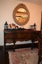 Vintage Buffet and rugs, Large Mirror, Roger Bros Silverware