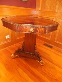 Mailtand Smith Hand Carved Mahogany  Occasional Table with Drawer. Brass Claw Ball Feet.Gorgeous!!