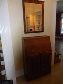 Vintage Oak Pigeon  Hole Secretary, with Drawers, Cubby Holes.  Vintage Mirror.