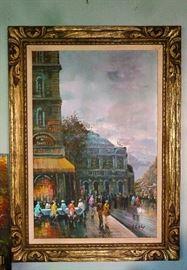 Oil Painting depicting European Street Scene.  Signature illegible.