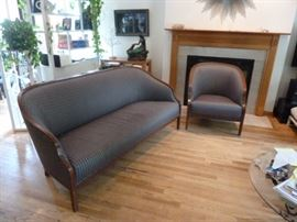 Knoll Upholstered Settee and Chair