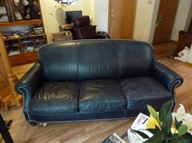Bradington Young Leather Sofa trimmed with Brass Tacks