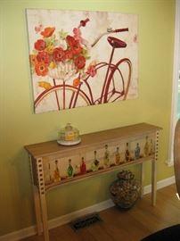 Foyer Table and Springtime Bike Print