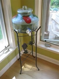 Water Cooler on Wrought Iron Base