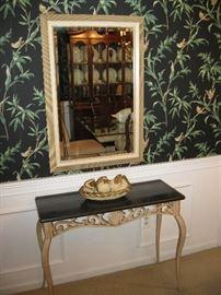 Foyer Table, Large Glass Framed Mirror