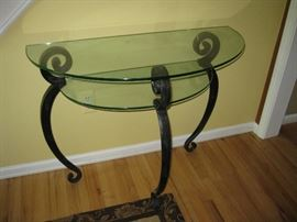 Glass and Wrought Iron Half Moon Accent Table