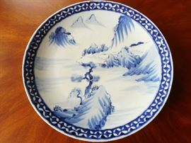 ANTIQUE BLUE & WHITE PORCELAIN CHINESE CHARGER