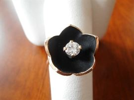 14KT GOLD & DIAMOND FLOWER BLOSSOM RING
