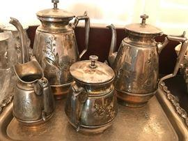 Meriden Britannia Co Quadruple plate tea set.