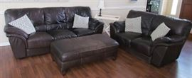 Star Furniture Espresso  Leather Sofa Loveseat and Ottoman