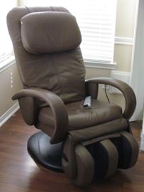 Human Touch HT125 Electronic Taupe Leather Reclining Massage Chair with Reversible Foot Rest