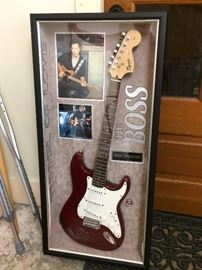 Bruce Springsteen Guitar in display case has Certificate of Authenticity  signed