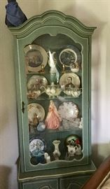 Wonderful blue French Provincial curio cabinet and contents