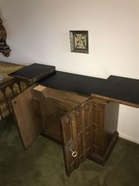 "SOLID WOOD AND BRASS SIDE BUFFET-39"" WIDTH X 29"" HEIGHT X 17""DEPTH"