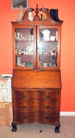 "Federal Style Secretary With Serpentine Drawers And Claw & Ball Feet, 80""H x 30""W x 16""D"