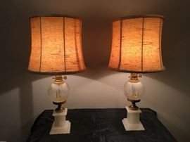 CUT GLASS & MARBLE LAMPS