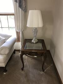 ORNATE WOOD AND GLASS SIDE TABLE