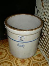 10 gallon Blue Band stoneware crock