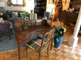 Kidney Shaped Desk with Inlayed Front and Back