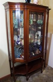 "C/1900 Mahogany Tall Sheraton China Cabinet w/""S"" curved glass side panels, 67 1/2""h."