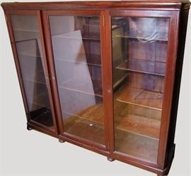 C/1900 Triple Mahogany Bookcase w/carved corners