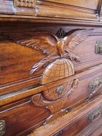 C/1897 Oak tall Chest w/unique Eagle on World central carving (Spanish American War Symbol)