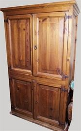 "French Provincial antique style lg. Pine 4 door cupboard w/raised panels and forged hardware, 69 1/2""h. x 42""w.x 24"" d."