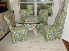 Wicker Dinette with Glass Top and 4 parsons chairs