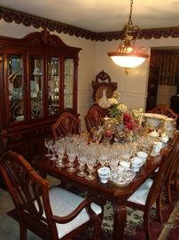 Beautiful Dining Room Table (84x41) w/ (6) Chairs (plastic covers still on upholstered seats), Dining Room Hutch (88Hx63Lx16D)  LOOKS BRAND NEW!