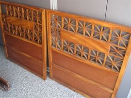 Matching hand made teak twin headboards.  Can you cream Mid-Century????  1956