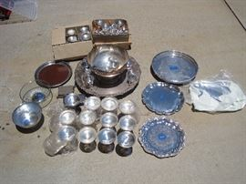 Silverplate punch bowl and 35 cups,  silverplate trays, and champagne flutes with glass liners...liners are rare!