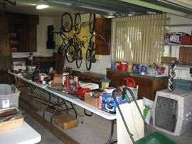 Garage packed full of tools, bikes and  more