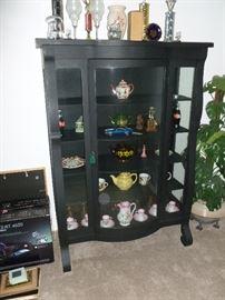Antique Oak China Cabinet - Painted black