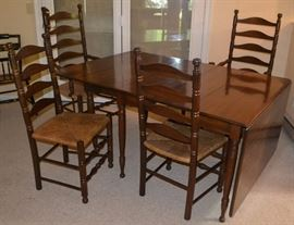 Ladder-back Rush-seated Chairs (2 arm), Gate-Legged, Drop Leaf table