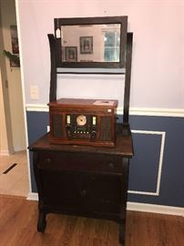 Innovative Technologies Music Center - With turntable, Recordable Cd Player, AUX plug in for Ipods, and AM/FM Radio.                                                     Antique Walnut Washstand.