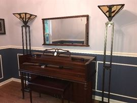 Kohler & Campbell Piano and Bench - Pair of stained glass floor lamps (Priced Separately), Antique federal style mirror