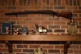 Antique Shotgun, Brass Lantern, Collectibles