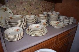 "Beautiful Mikasa Heritage ""Capistrano"" China: 78 pcs: 13 Dinner, 12 Bread, 8 Salad Bowls, 9 Soup Bowls, 16 Saucers, 14 Cups, 1 Gravy Boat, 1 Platter, 1 Serving Bowl, 1 Sugar, 1 Creamer"