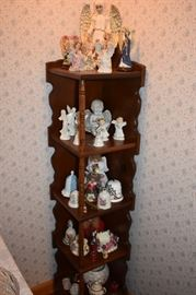 "Corner ""What-Not"" Shelf loaded with Angel Figurines and Bells!"