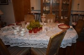 Beautiful Dining Table set with China and Collectible Glassware