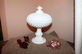Hobnail covered dish and Fenton Squirrel and Turtle