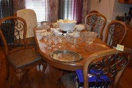 Beautiful Dining Table with Double Pedestal and Chairs with Cabriole Legs in Excellent Condition! Quality workmanship! Solid Wood! Awesome Chairs! Great Finish! Plus Vintage Milk Glass Grape and Cable Punch Bowl Set with matching Cups, Collectible Glassware and More!
