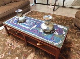 retro coffee table with mosaic top