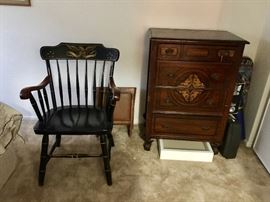 One of Two Captains chairs, Antique dresser with wrought Iron Claws Feet legs.