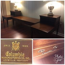 Columbia mahogany end tables & coffee table