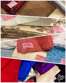 Yards of fabric: wools, velvets, velveteen, lace, taffeta and other