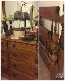 Kline maple double bed and dresser